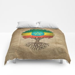 Vintage Tree of Life with Flag of Ethiopia Comforters