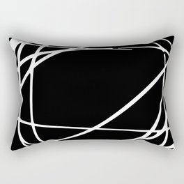 Black and White Abstract Art Print, Scribbles, Minimalism Wall Art Rectangular Pillow