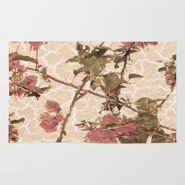 Textured Vintage Floral Motif Rug