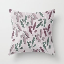 Feathers watercolor Throw Pillow