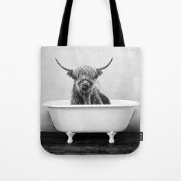 Highland Cow in a Vintage Bathtub (bw) Tote Bag