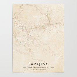 Sarajevo, Bosnia and Herzegovina - Vintage Map Poster