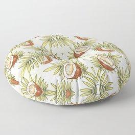 Caribbean Juicy Coconut Seamless Pattern Tropical Floor Pillow