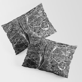 Prague Black Map Pillow Sham