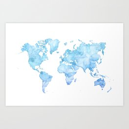 Light blue watercolor world map Art Print