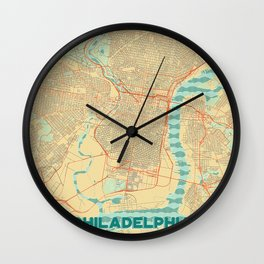 Philadelphia Map Retro Wall Clock