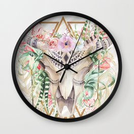 Skull boho and triangles Wall Clock
