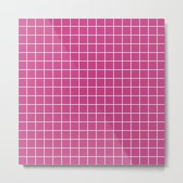 Smitten - fuchsia color - White Lines Grid Pattern Metal Print