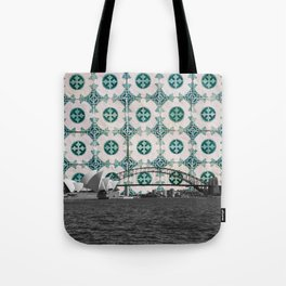 Sydney Harbour Meets Portuguese Tiles Montage - Azulejo Green and White Tote Bag