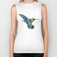 hummingbird Biker Tanks featuring Hummingbird by madbiffymorghulis
