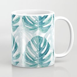 Monstera leaves Jungle leaves Turquoise Tropical Leaves Coffee Mug