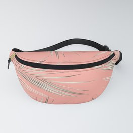 White Gold Palm Leaves on Coral Pink Fanny Pack