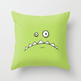 Grumpy Green Monster Throw Pillow