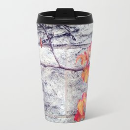 Red Leaves Growing by the Wall. Autumn Travel Mug