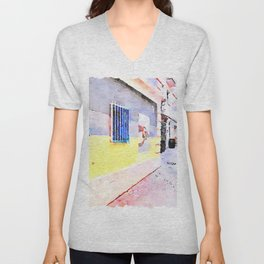 Foreshortening of an alley with murals and casks Unisex V-Neck