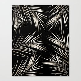 White Gold Palm Leaves on Black Canvas Print