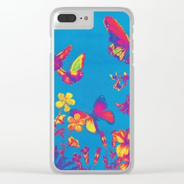 Blue Butterflies & Flowers Clear iPhone Case