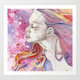Rainbows in Her Hair Art Print