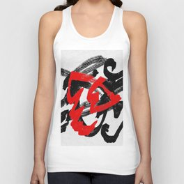 Black and red Unisex Tank Top