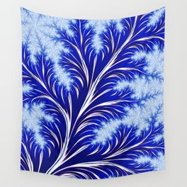 Abstract Blue Christmas Tree Branch with White Snowflakes Wall Tapestry