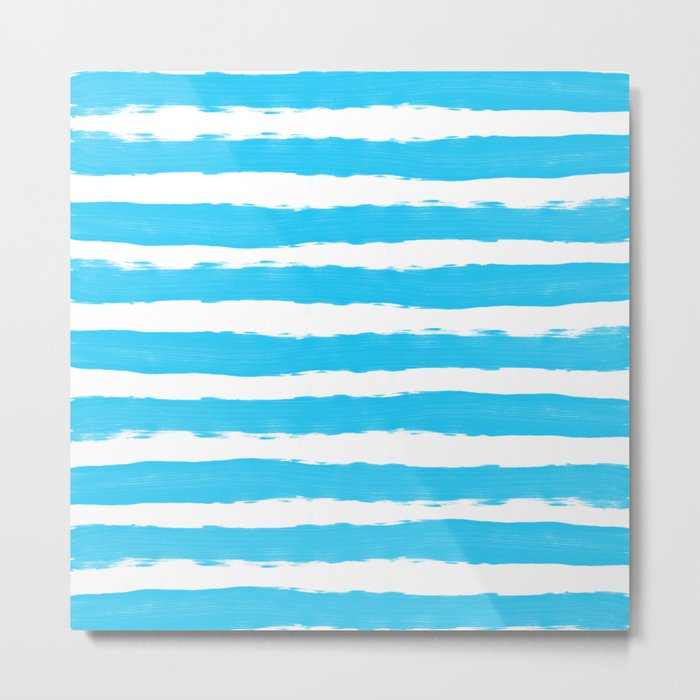 Simple aqua and white handrawn stripes - horizontal - for your summer Metal Print
