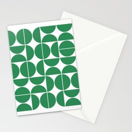 Mid Century Modern Geometric 04 Green Stationery Cards