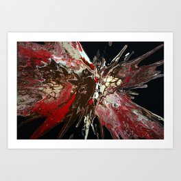 Painting Fluid Art Acrlylics in Black and Red - Art Print