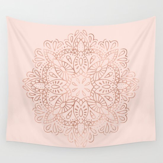Pink Wall Tapestry mandala rose gold pink shimmer on blush pink wall tapestry