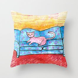 Colorful Cat Sitting on Colorful Sofa Throw Pillow