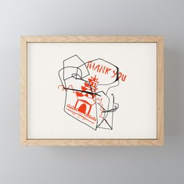 Chinese Food Takeout - Contour Line Drawing Framed Mini Art Print