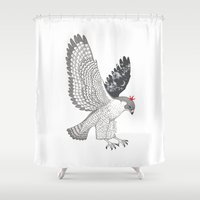 hawk Shower Curtains featuring hawk by talltree