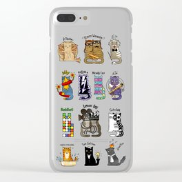 Science cats. History of great discoveries. Schrödinger cat, Tesla, Einstein. Physics, chemistry etc Clear iPhone Case