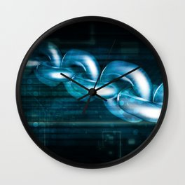 Block Chain Security Abstract Background Concept Art Wall Clock