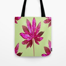 Large pink leaf on a olive green background - beautiful colors Tote Bag
