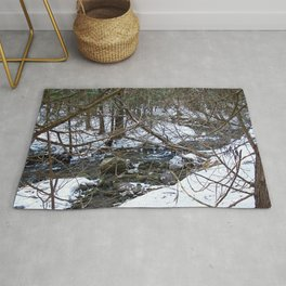 Winter Creek in the Forest Rug