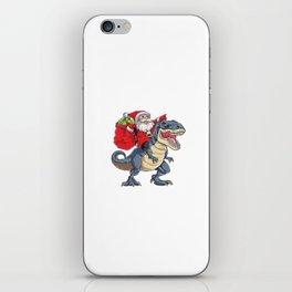 Santa Riding Dinosaurus T Rex iPhone Skin