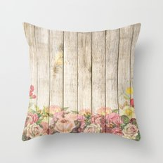 Wood Roses Throw Pillow