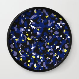Starry night camouflaged pattern (Blue and yellow) Wall Clock
