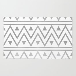Silver & White Chevron Pattern Rug