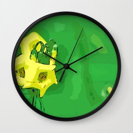 Three yellow Pentagons Wall Clock