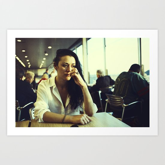 portrait of girl in department store cafe in early evening sunlight Art Print