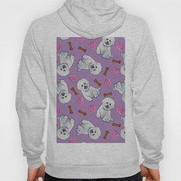 Bichon Frise Love Pattern on Lavender Hoody