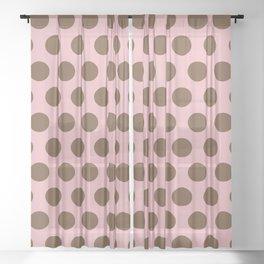 Pink and Brown Polka Dots 471 Sheer Curtain