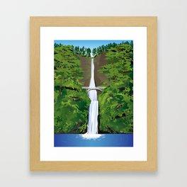 Multnomah Falls Illustration Framed Art Print