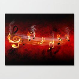 Hot Music Notes Canvas Print