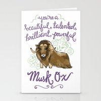 leslie knope Stationery Cards featuring Leslie Knope Compliments: Musk Ox by Shebanimal