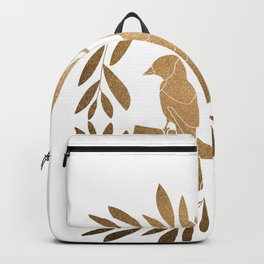 Exotic parrots // Wreath golden leaves // White background Backpack