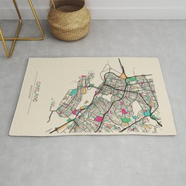 Colorful City Maps: Oakland, California Rug