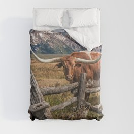 Texas Longhorn Steer with Wood Log Fence in Wyoming Pasture Duvet Cover