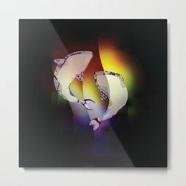Whales Rainbow Metal Print